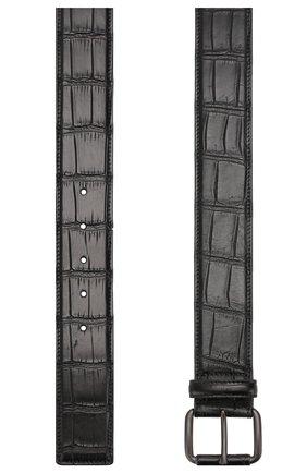 Мужской ремень из кожи крокодила BOTTEGA VENETA черного цвета, арт. 288168/V912Q | Фото 2