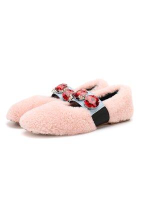 Детские меховые балетки MARNI светло-розового цвета, арт. 63307/36-41 | Фото 1