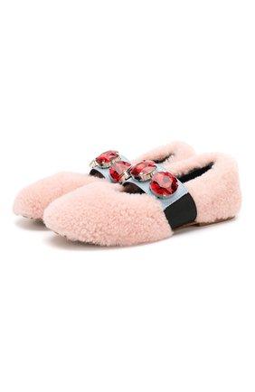 Детские меховые балетки MARNI светло-розового цвета, арт. 63307/28-35 | Фото 1