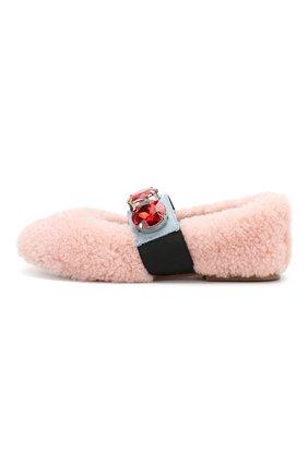 Детские меховые балетки MARNI светло-розового цвета, арт. 63307/28-35 | Фото 2