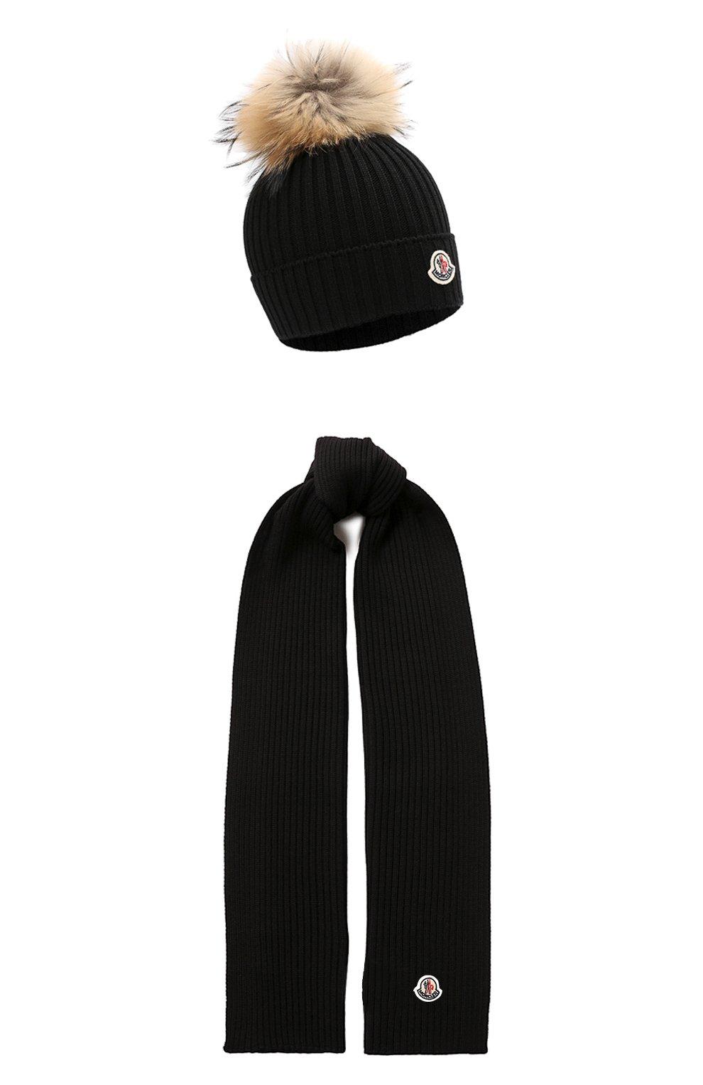 Детский комплект из шапки и шарфа MONCLER черного цвета, арт. E2-954-00951-06-04S01 | Фото 1