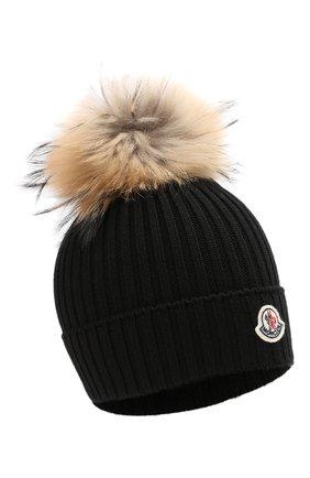 Детский комплект из шапки и шарфа MONCLER черного цвета, арт. E2-954-00951-06-04S01 | Фото 2