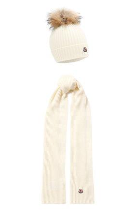 Детский комплект из шапки и шарфа MONCLER белого цвета, арт. E2-954-00951-06-04S01 | Фото 1