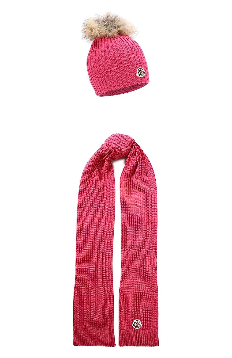 Детский комплект из шапки и шарфа MONCLER фуксия цвета, арт. E2-954-00951-06-04S01   Фото 1