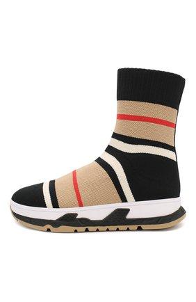Детские текстильные кроссовки BURBERRY разноцветного цвета, арт. 8018856 | Фото 2
