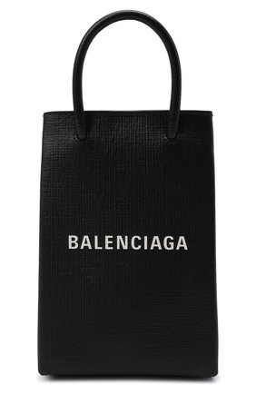 Мужской кожаный чехол shopping для телефона BALENCIAGA черного цвета, арт. 593826/0AI2N | Фото 1
