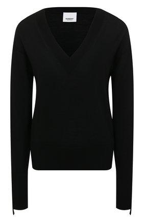 Женский пуловер из смеси шерсти и шелка BURBERRY черного цвета, арт. 8021171 | Фото 1 (Материал внешний: Шерсть; Длина (для топов): Стандартные; Рукава: Длинные; Стили: Кэжуэл, Минимализм, Классический; Женское Кросс-КТ: Пуловер-одежда)
