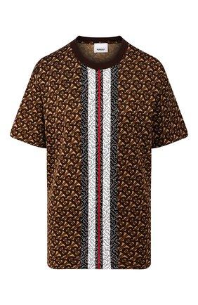 Женская хлопковая футболка BURBERRY коричневого цвета, арт. 8018433 | Фото 1