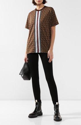 Женская хлопковая футболка BURBERRY коричневого цвета, арт. 8018433 | Фото 2