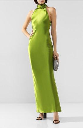 Женское шелковое платье BRANDON MAXWELL зеленого цвета, арт. GN121FW19 | Фото 2