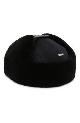 Кашемировая шапка с меховой отделкой | Фото №2