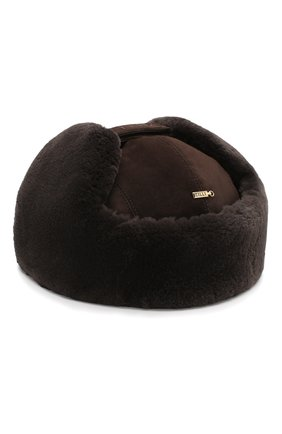 Мужская кашемировая шапка с меховой отделкой ZILLI коричневого цвета, арт. MHQ-0RS00-01003/2001 | Фото 2