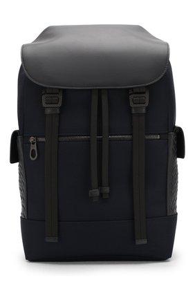 Мужской текстильный рюкзак с кожаной отделкой BOTTEGA VENETA темно-синего цвета, арт. 520460/VAYE3   Фото 1