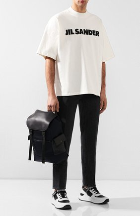 Мужской текстильный рюкзак с кожаной отделкой BOTTEGA VENETA темно-синего цвета, арт. 520460/VAYE3   Фото 2