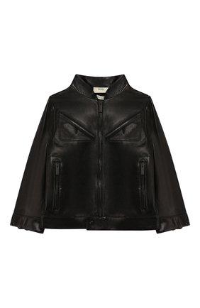 Детского кожаная куртка FENDI черного цвета, арт. JMA167/A8RC/3A-5A | Фото 1