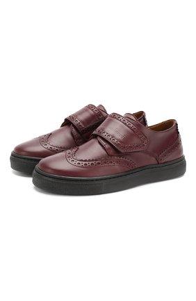 Детские кожаные туфли GALLUCCI бордового цвета, арт. J20032NM/SC P V G0M VIT/VIT | Фото 1