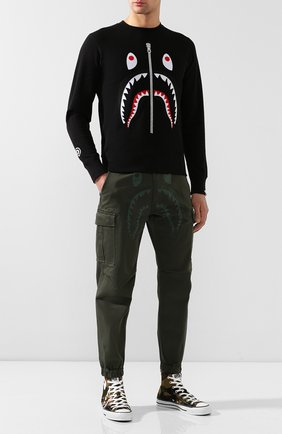 Мужской хлопковые брюки-карго BAPE хаки цвета, арт. 1F70152013 | Фото 2