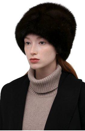 Женская шапка из меха соболя KUSSENKOVV темно-коричневого цвета, арт. 063500004679   Фото 2 (Материал: Натуральный мех)