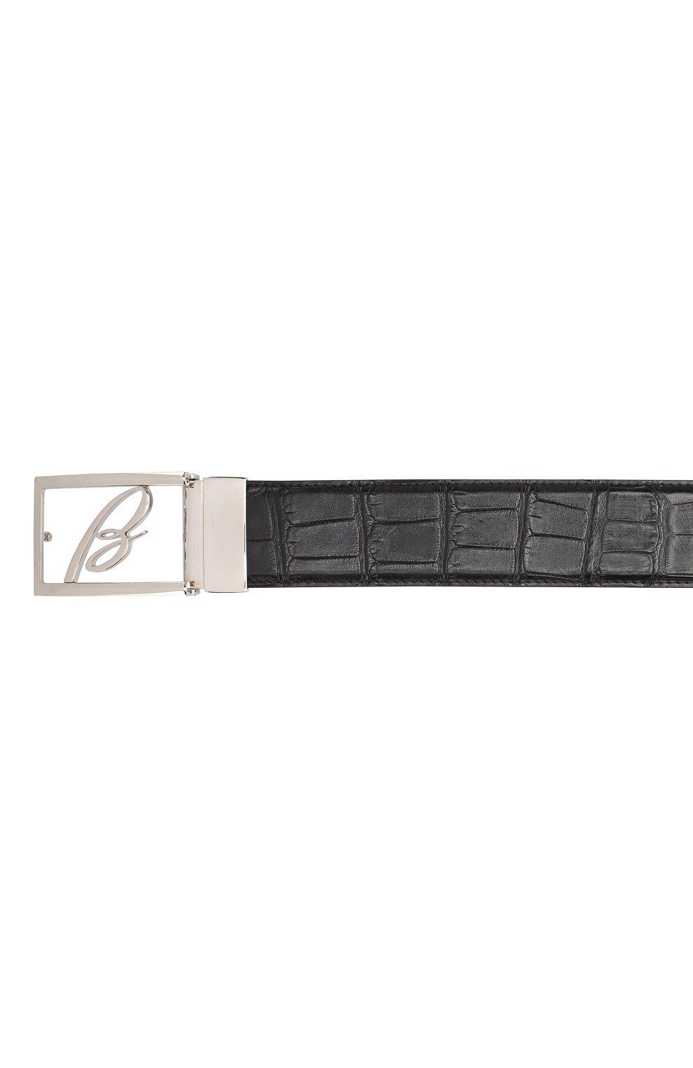 Мужской ремень из кожи аллигатора BRIONI черного цвета, арт. 0BAG0L/P8722/AMIS | Фото 3