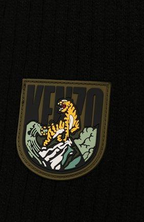 Мужской шерстяной шарф KENZO черного цвета, арт. F968EU139KEE | Фото 2