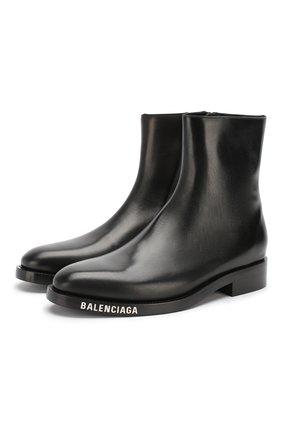 Мужские кожаные сапоги BALENCIAGA черного цвета, арт. 590717/WA6F0 | Фото 1