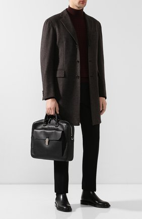 Мужская кожаная сумка для ноутбука DUNHILL черного цвета, арт. DU19F3805AR | Фото 2