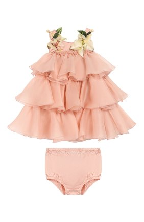 Женская шелковое платье с шортами DOLCE & GABBANA светло-розового цвета, арт. L21DR6/FU1BU | Фото 1