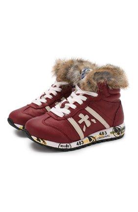 Кожаные кроссовки с меховой отделкой | Фото №1