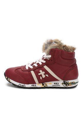 Кожаные кроссовки с меховой отделкой   Фото №2