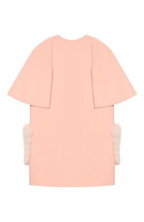Детское шерстяное пальто с меховой отделкой FENDI розового цвета, арт. JFA105/W1D/6A-8A | Фото 2