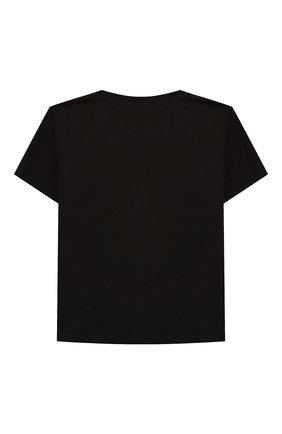 Детская хлопковая футболка BALENCIAGA черного цвета, арт. 556155/TGV56 | Фото 2