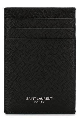 Мужской кожаный футляр для кредитных карт SAINT LAURENT черного цвета, арт. 584105/BTY0N | Фото 1