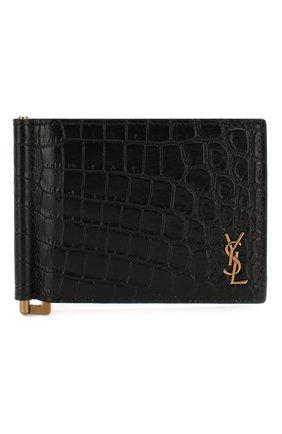 Мужской кожаный зажим для денег SAINT LAURENT черного цвета, арт. 607738/DZEDW | Фото 1