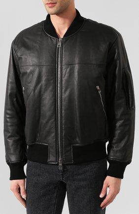 Мужской кожаный бомбер BOTTEGA VENETA черного цвета, арт. 602175/VK0L0 | Фото 3