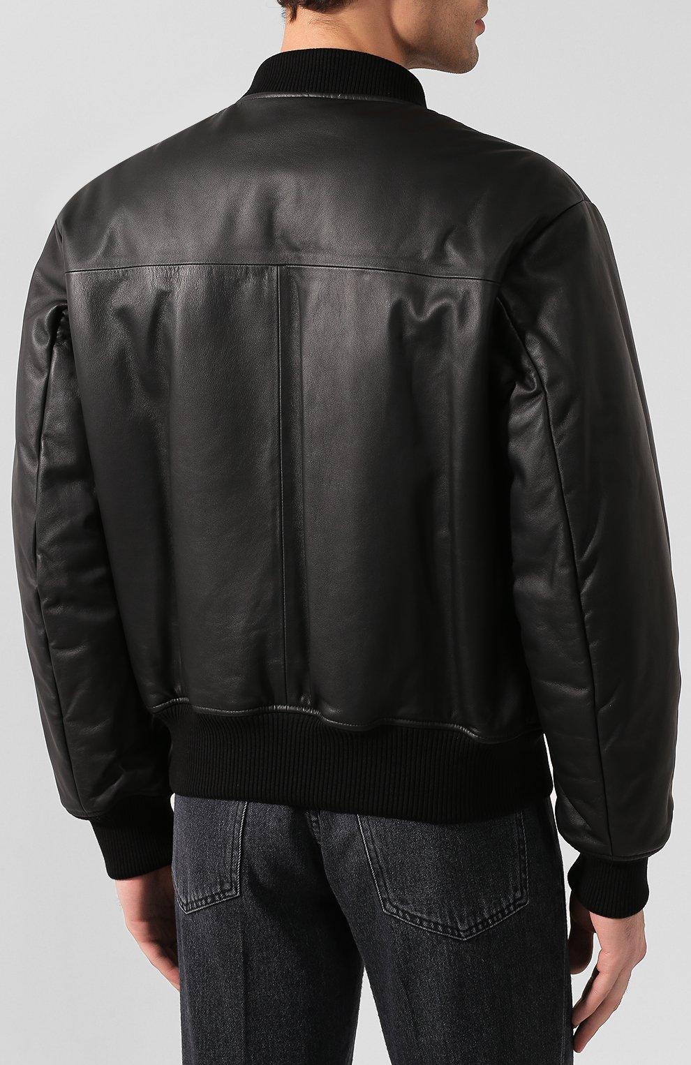 Мужской кожаный бомбер BOTTEGA VENETA черного цвета, арт. 602175/VK0L0 | Фото 4