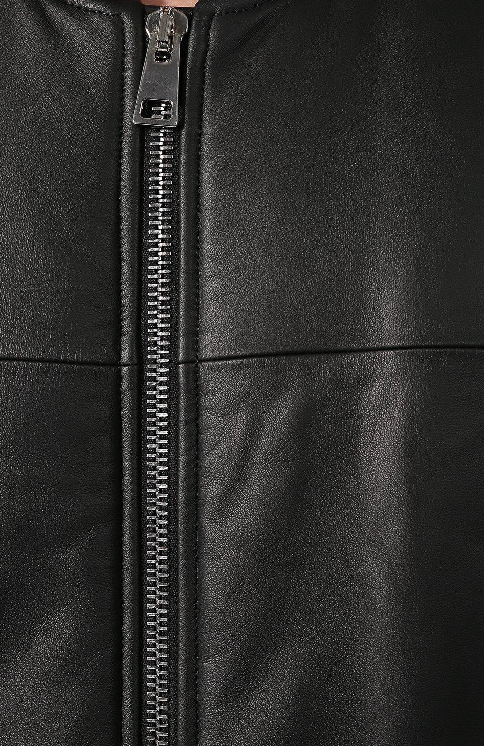 Мужской кожаный бомбер BOTTEGA VENETA черного цвета, арт. 602175/VK0L0 | Фото 5