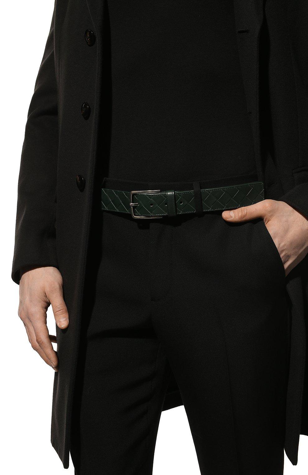 Мужской кожаный ремень BOTTEGA VENETA зеленого цвета, арт. 609182/VCPQ3   Фото 2 (Случай: Повседневный)
