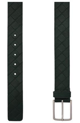 Мужской кожаный ремень BOTTEGA VENETA зеленого цвета, арт. 609182/VCPQ3   Фото 3 (Случай: Повседневный)