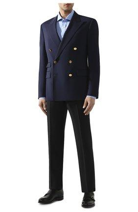 Мужская хлопковая сорочка RALPH LAUREN голубого цвета, арт. 791769934 | Фото 2