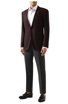 Мужские шерстяные брюки RALPH LAUREN темно-серого цвета, арт. 798730107 | Фото 2 (Материал внешний: Шерсть; Материал подклада: Вискоза; Случай: Формальный; Стили: Классический)