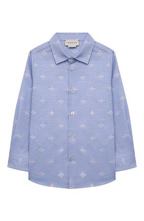 Детская хлопковая рубашка GUCCI голубого цвета, арт. 574543/XWAFI | Фото 1