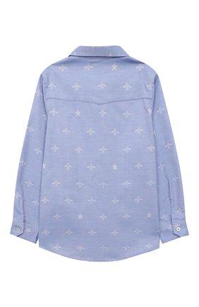 Детская хлопковая рубашка GUCCI голубого цвета, арт. 574543/XWAFI | Фото 2