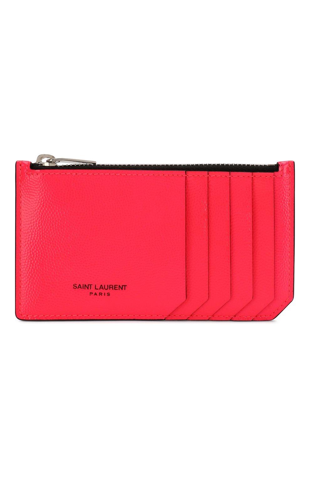 Женский кожаный футляр для кредитных карт SAINT LAURENT розового цвета, арт. 458583/1DJ2N | Фото 1