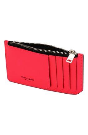 Женский кожаный футляр для кредитных карт SAINT LAURENT розового цвета, арт. 458583/1DJ2N | Фото 3