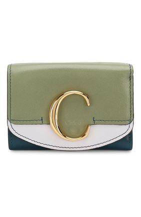Женские кожаное портмоне chloé c CHLOÉ зеленого цвета, арт. CHC19AP058B52   Фото 1