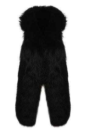 Женский капюшон из меха лисицы SIMONETTA RAVIZZA черного цвета, арт. AI19ARY1/A01 | Фото 1