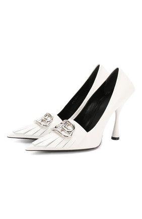 Женская кожаные туфли fringe knife BALENCIAGA белого цвета, арт. 591029/WAZN3 | Фото 1