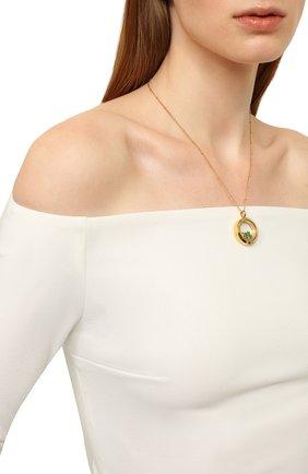 Женская кулон на цепочке HYPSO золотого цвета, арт. L0CKET MEDIUM 3 CHARMS G0LD C0L0R   Фото 2