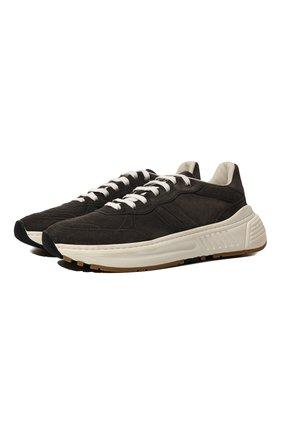 Мужские замшевые кроссовки BOTTEGA VENETA коричневого цвета, арт. 565646/VBRT0 | Фото 1