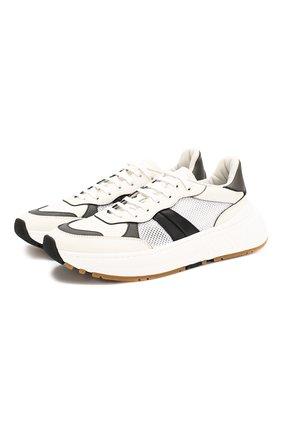 Мужские кожаные кроссовки BOTTEGA VENETA черно-белого цвета, арт. 565646/VJE21 | Фото 1